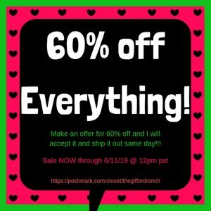 60% off EVERYTHING SALE!!